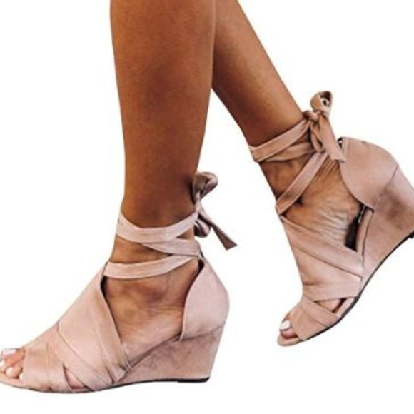 61517ee192c New Strappy Lace Up Pink Nude Wedge Heel Sandal NWT